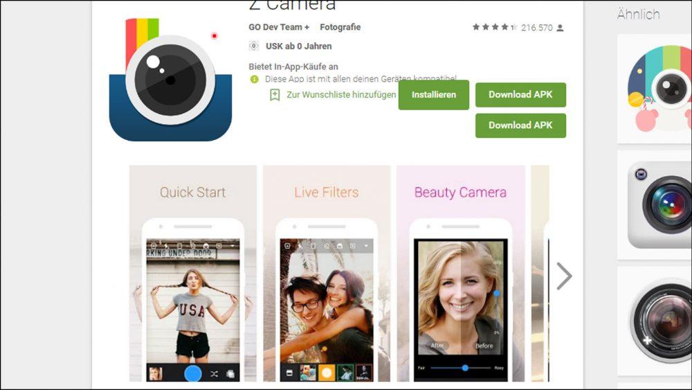 Android Foto App Z Camera