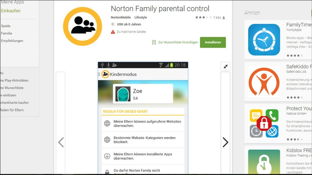 Sicherheitsapp Norton Family Andoird kindersicher
