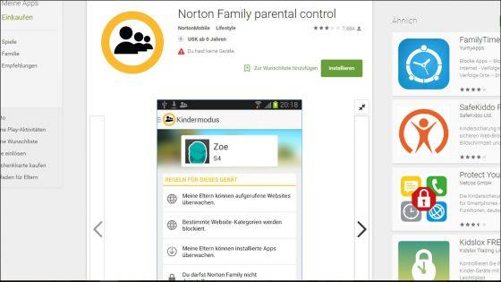 Mit der Sicherheitsapp NortonFamily wird das Andoird kindersicher.