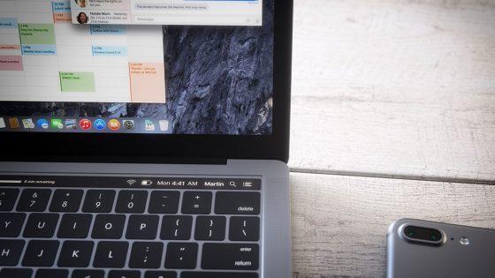Entwurf einer OLED-Leiste auf der Tastatur des neuen MacBook Pro von Apple.