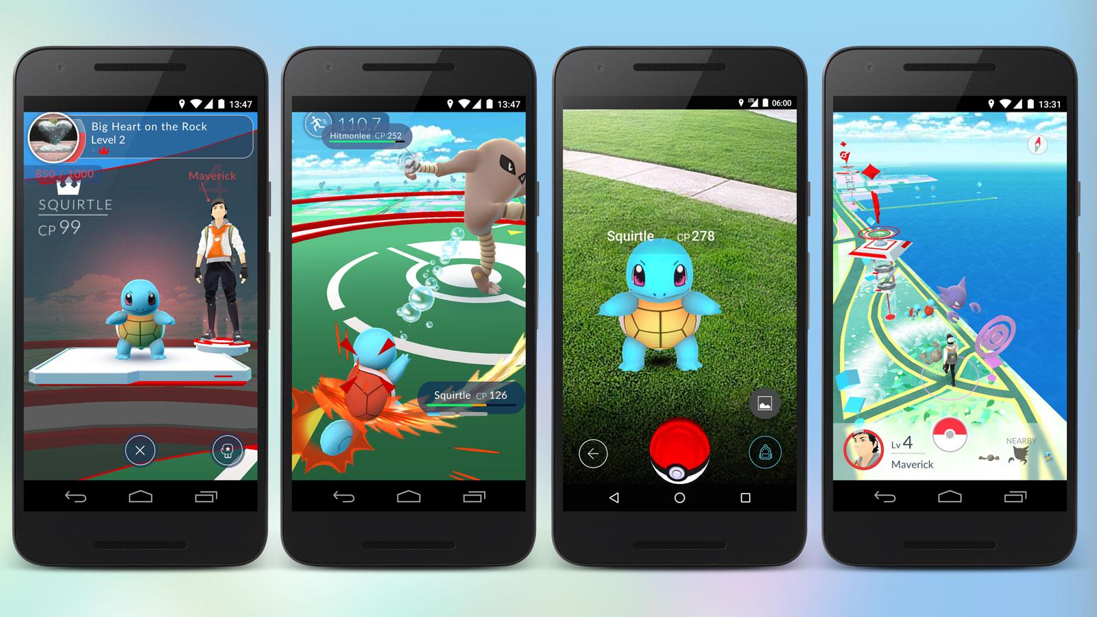 Vier Smartphones mit Screenshots von Pokémon GO.