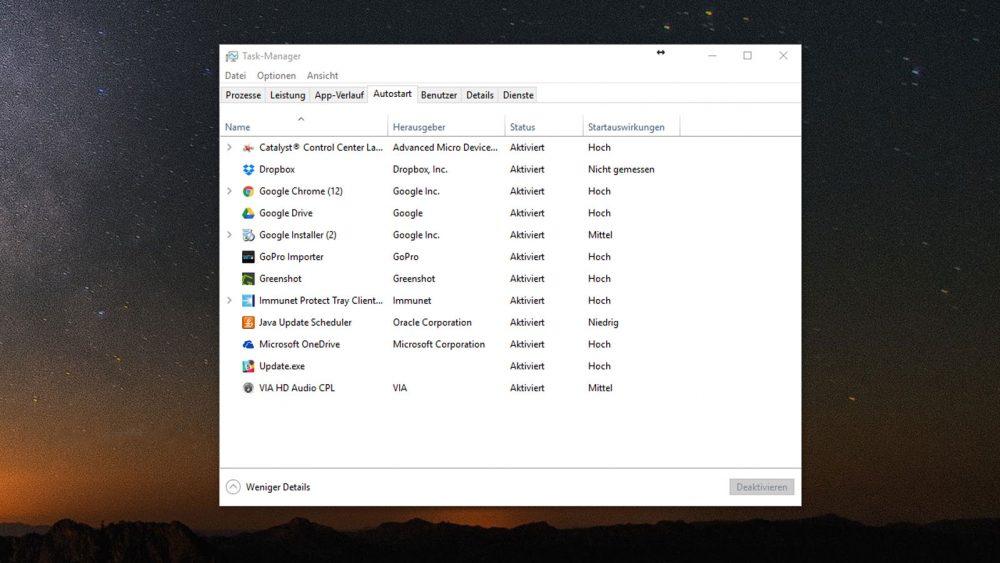 Taskmanager Windows 10