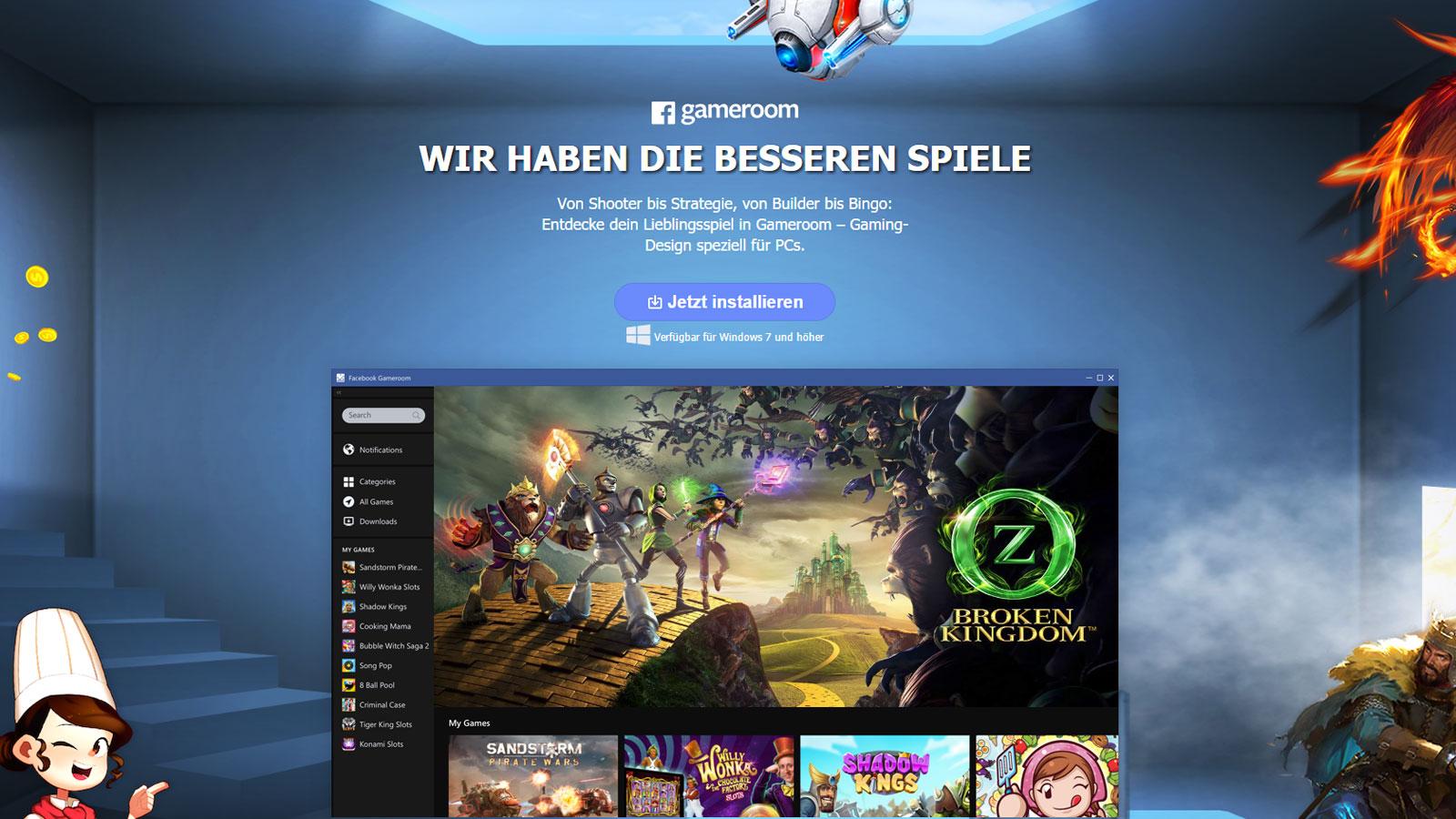 Facebook startet die Spiele-App Gameroom.