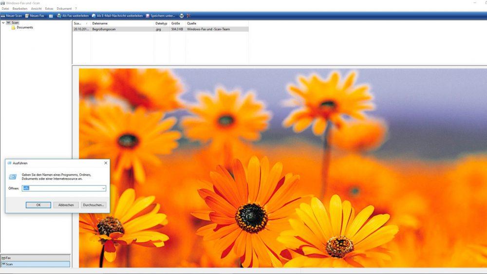 Scannen mit der kostenlosen Scanner-Software Windows-Fax und -Scan.
