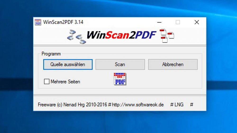 """Die kostenlose Scanner-Software """"WinScan2PDF"""" für Windows 10."""