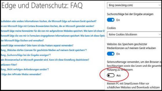 windows 10 Datenschutz edge