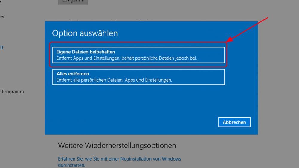 Windows 10 zurücksetzen
