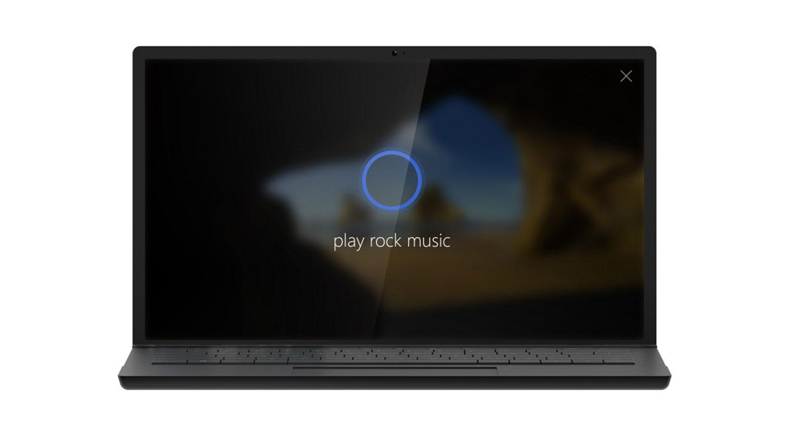 Notebook, auf dem Cortana aktiviert ist.