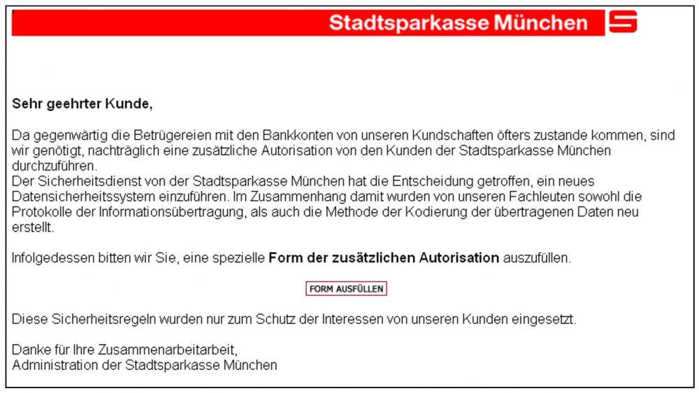 Phishing Mails Stadtsparkasse