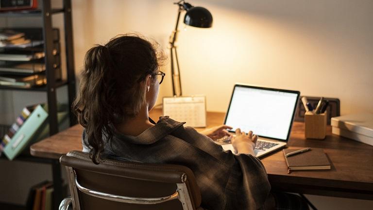 Frau arbeitet zu Hause am Laptop