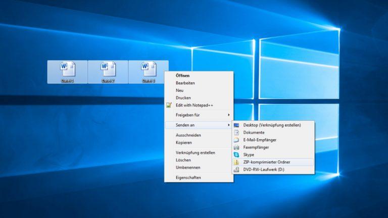 Screenshot Schritte zur Zip-Datei unter Windows 10