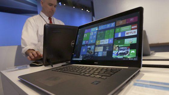 Windows 10 auf einem Laptop auf einer Messe