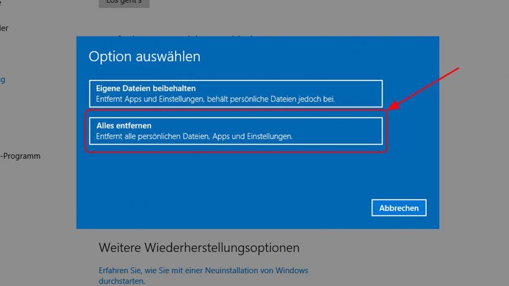 Windows 10 zurücksetzen Schritt 4