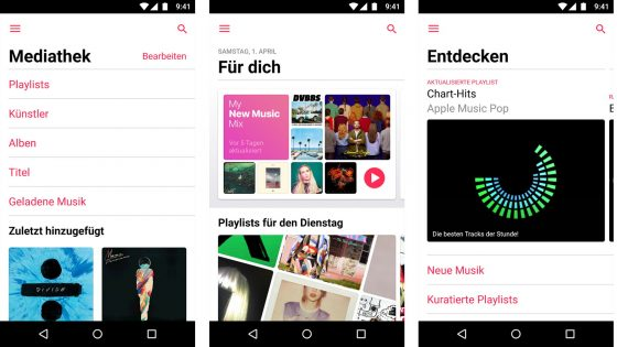 Screenshots Apple Music auf Android