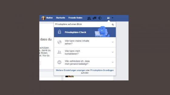 Facebook Privatsphaere Menü