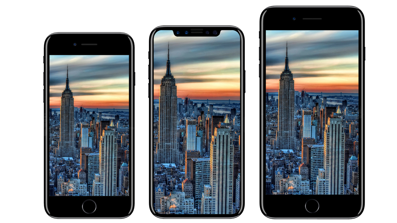iPhone 7, iPhone 8 und iPhone 7 Plus nebeneinander