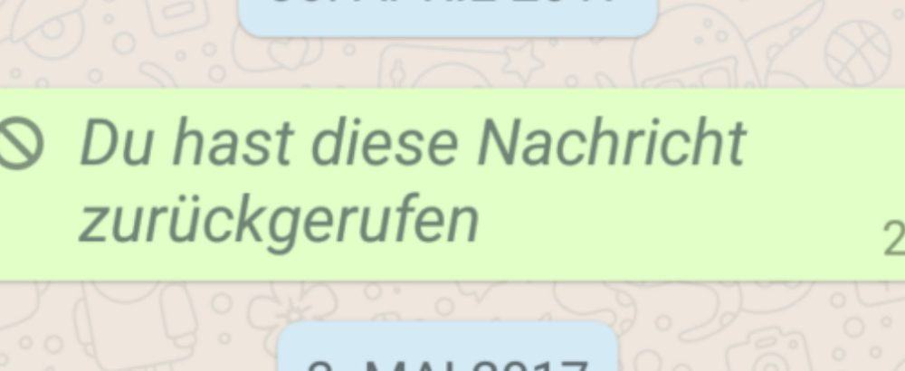 WhatsApp-Nachricht zurückgerufen