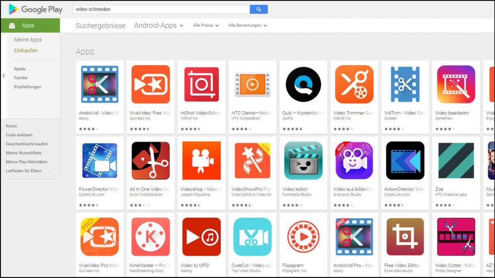 Große Auswahl an Apps zum Schneiden und Bearbeiten von Videos