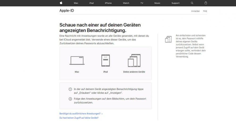 Apple-ID-Passwort zurücksetzen