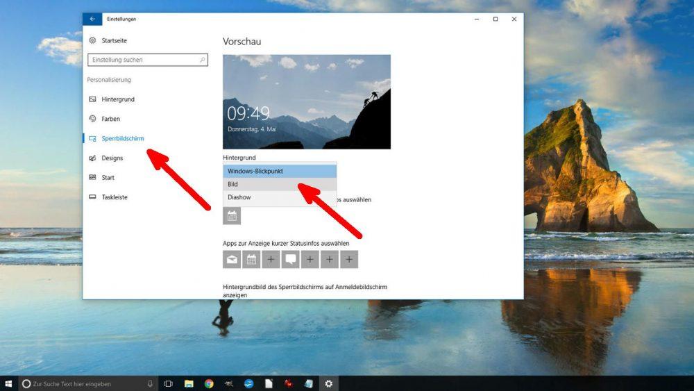 Sperrbildschirm-Hintergrund: Windows-Blickpunkt, Bild oder Diashow