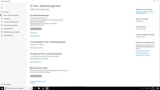 Virenschutz Windows 10 Windows Defender