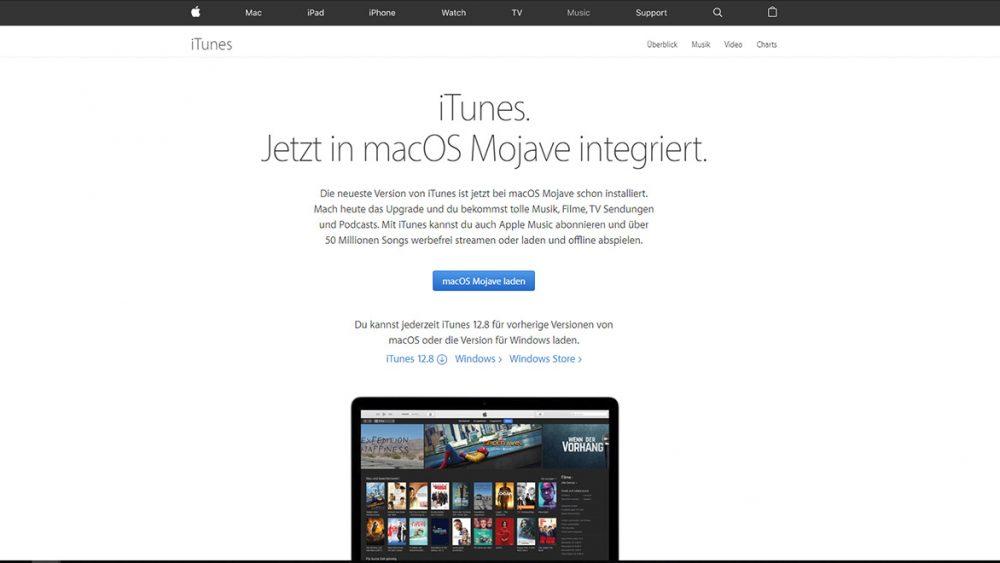 iTunes herunterladen auf Apple-Homepage