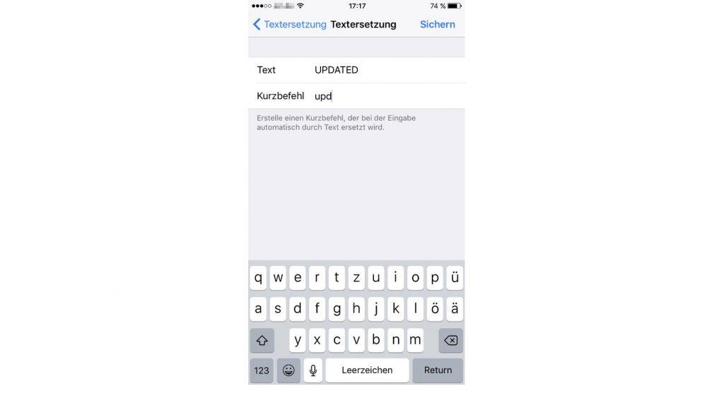 Kurzbefehle in der Textersetzung speichern