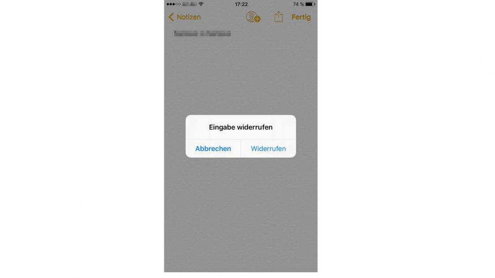 Eingabe widerrufen durch Schütteln des iPhones