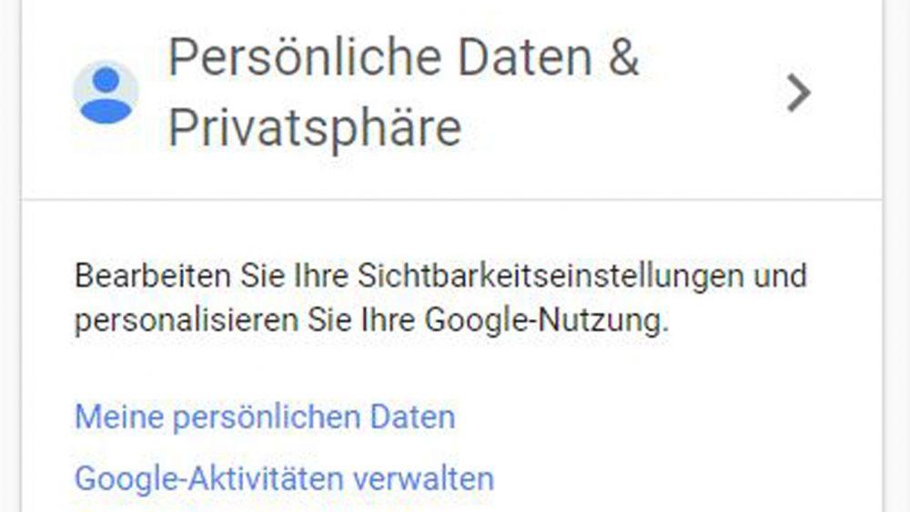 Über Mein Konto lassen sich die Google-Aktivitäten verwalten