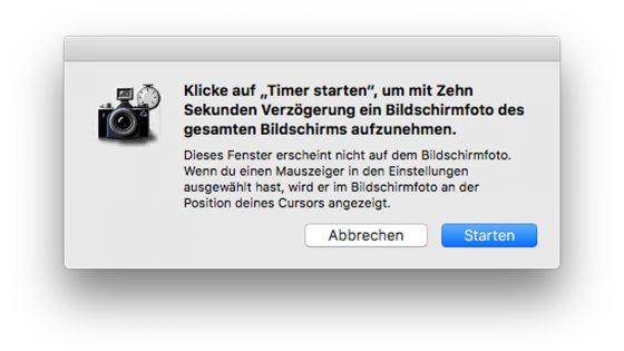 Mac Screenshot machen Selbstauslöser