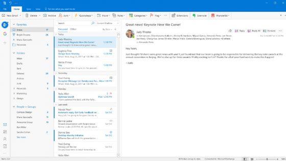 Microsofts Outlook bekommt neues Design verpasst
