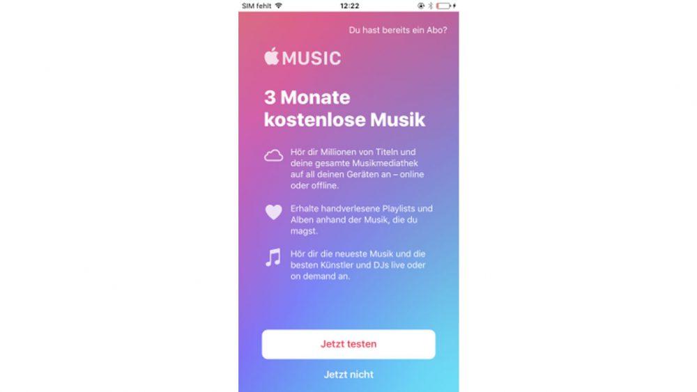 Testphase: Vor dem Abo können Sie Apple Music kostenlos ausprobieren