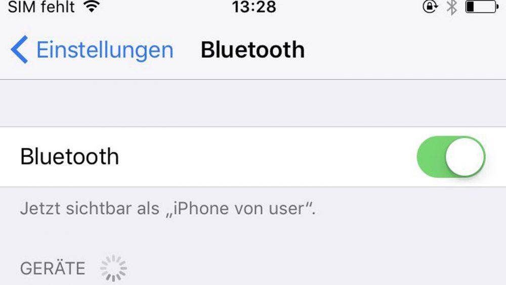 Aktivierte Bluetooth-Funktion beim iPhone