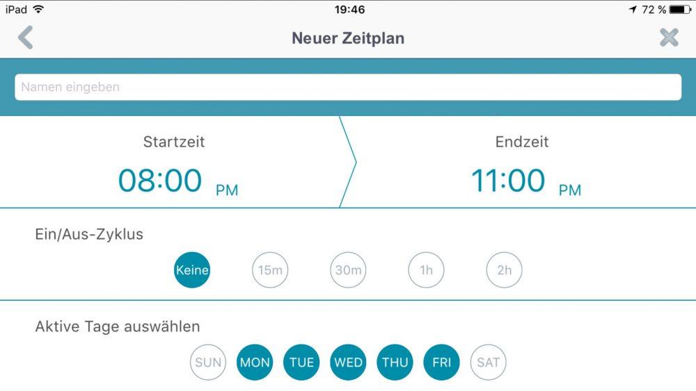 Ein personalisierter Zeitplan betätigt die Geräte