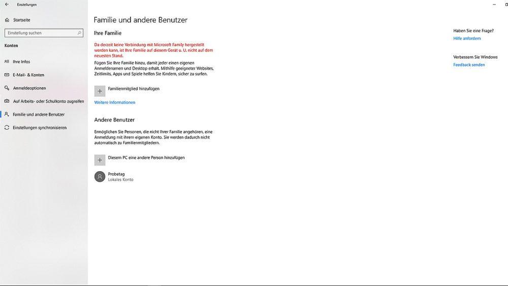 Windows 10 Benutzerkonto hinzufügen Fenster mit Einstellungen