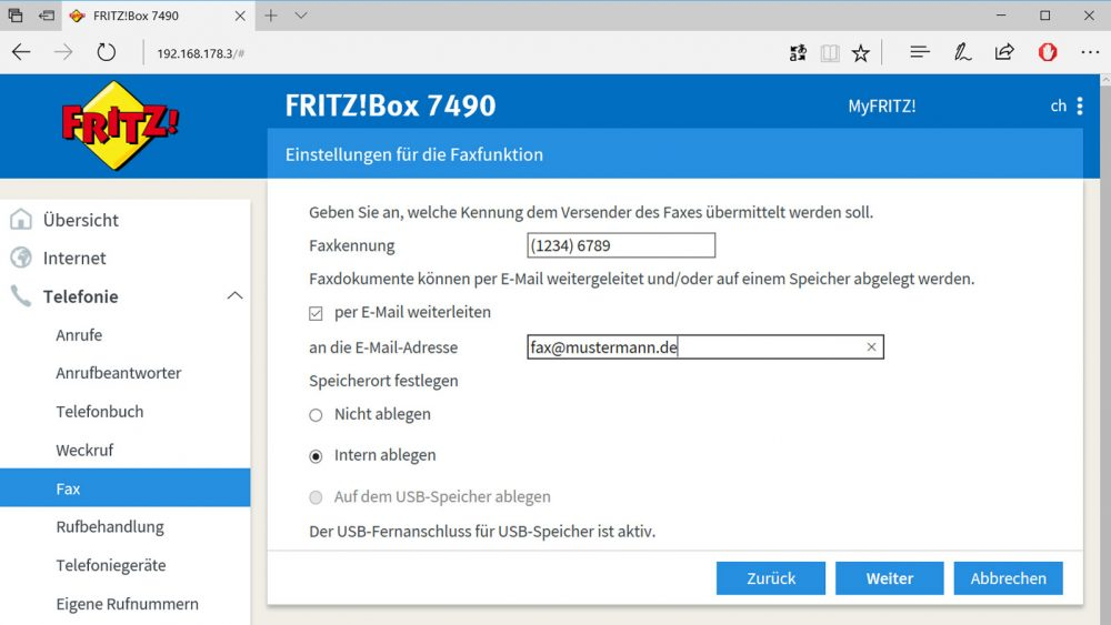 Fax mit Fritzbox versenden: Interface