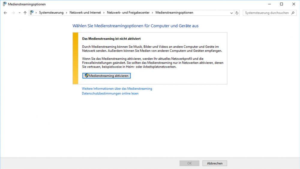 Eigener Streamingdienst von Windows über die Systemsteuerung