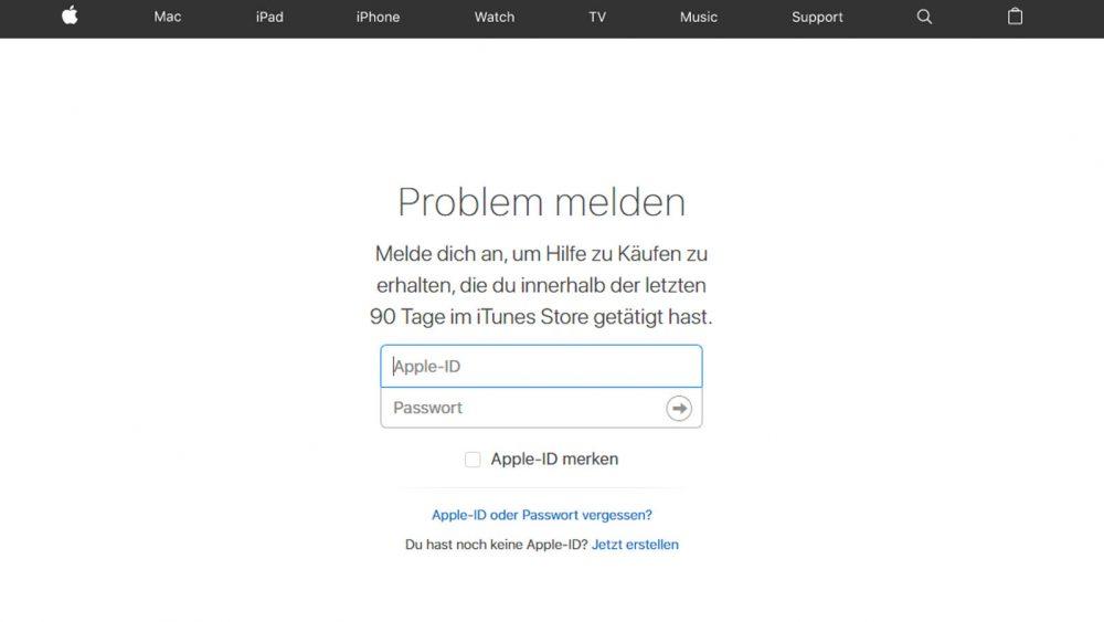 Anmelden auf iTunes um das Problem zu melden