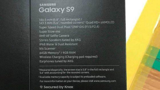 Samsung Galaxy S9: Alle Specs durch die Verpackung geleakt?