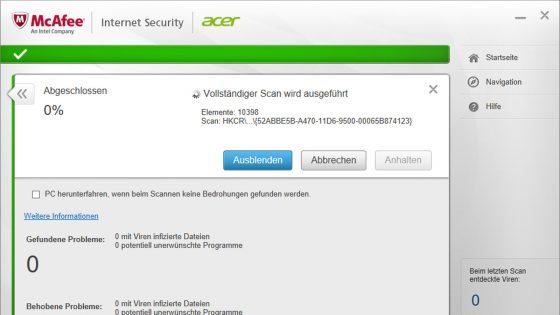 Virus auf dem PC McAfee Scan