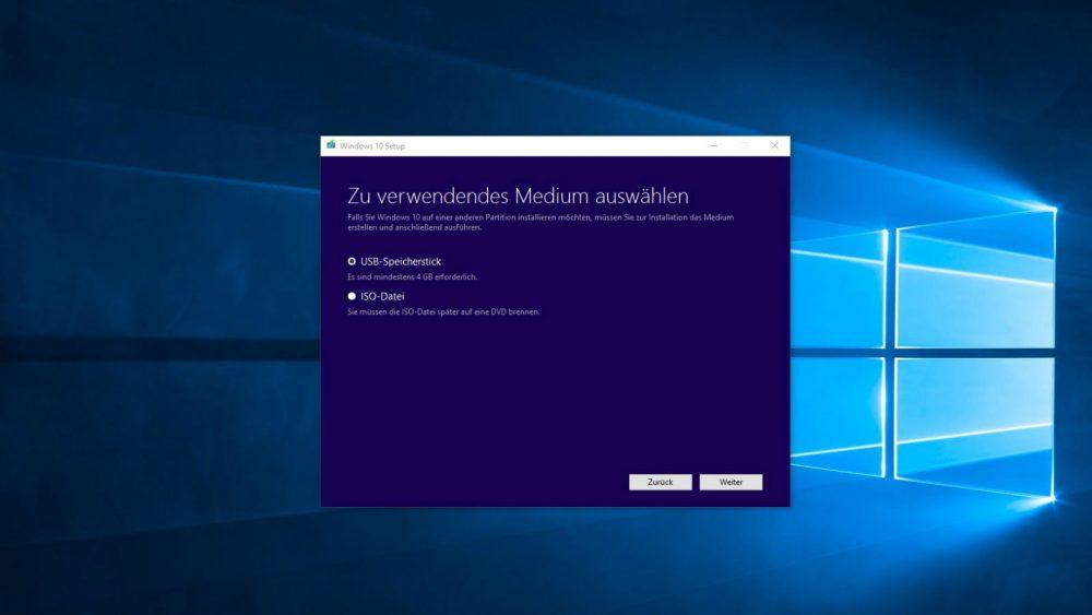 Microsoft Windows Media Creation Tool Benutzeroberfläche