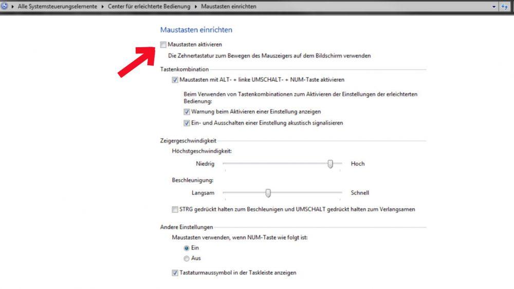 Windows Tastaturmaus aktivieren