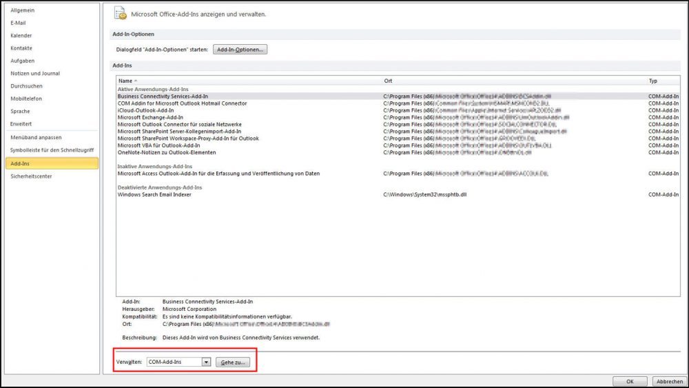 COM-Add-In-Übersicht in Outlook