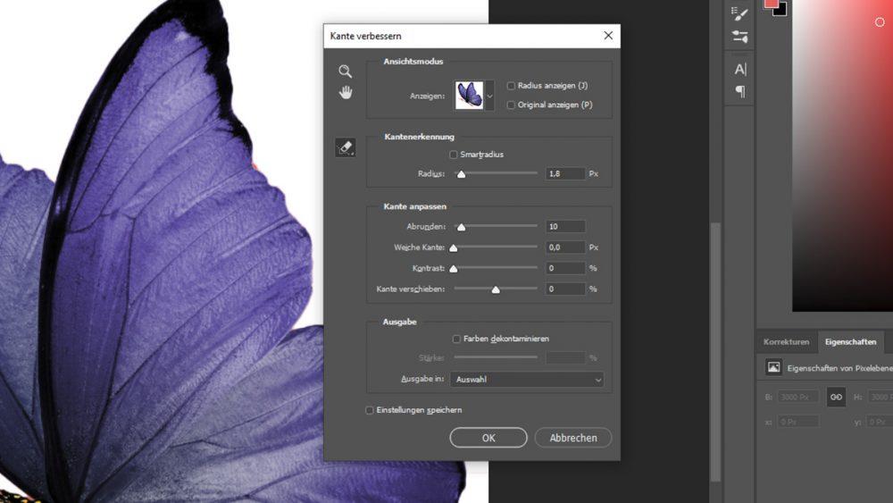Photoshop: Freistellen und Kanten optimieren