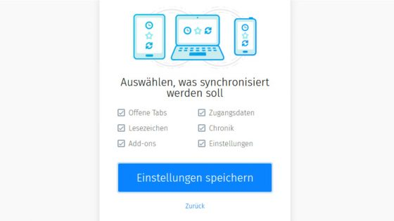 Firefox synchronisieren Auswahl