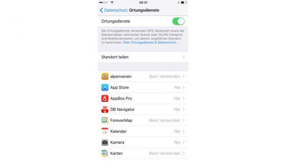 iPhone sicher konfigurieren Ortung