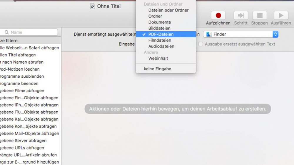 Screenshot: PDF mit Automator auf Mac erstellen