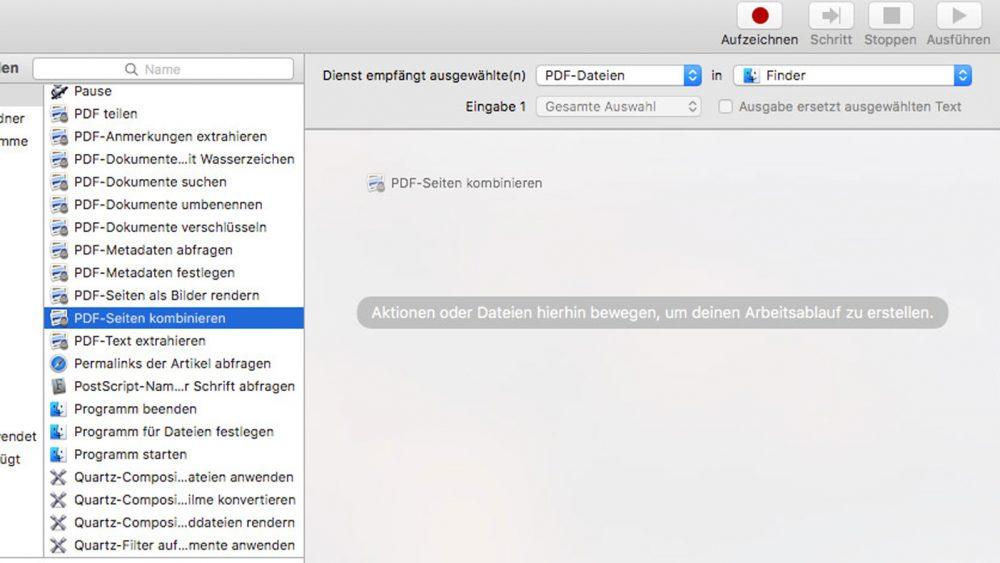 PDF mit Automator auf Mac erstellen