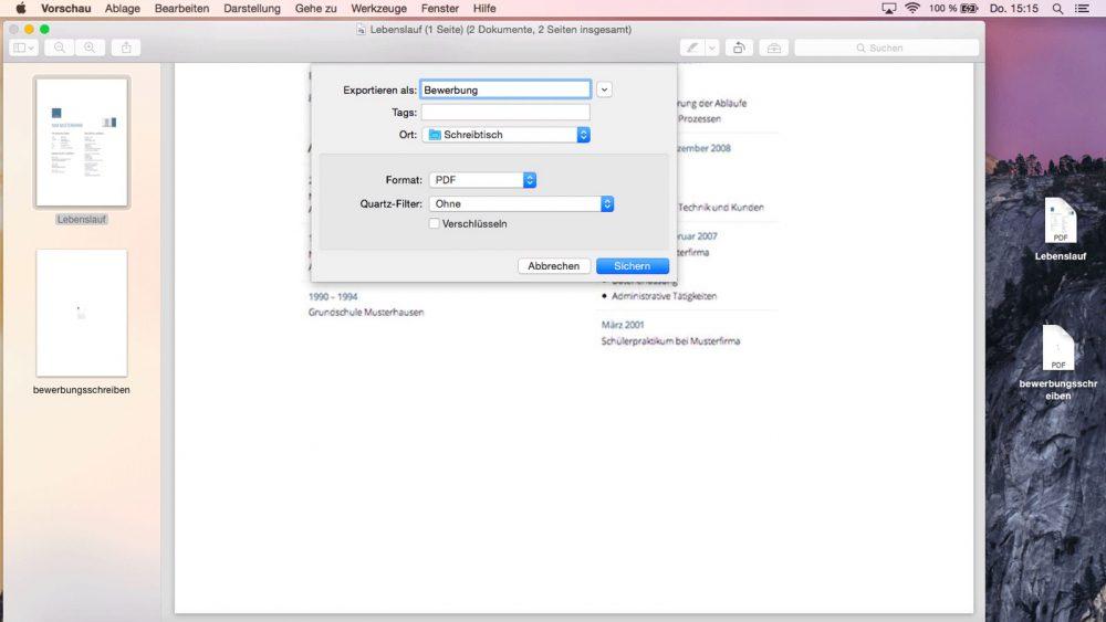 Screenshot: PDF mit Vorschau auf Mac erstellen