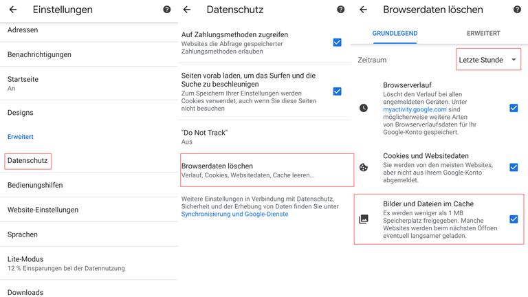 Android Cache leeren Browser
